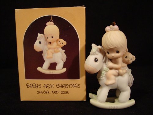 Precious Moments Ornament Baby's First Christmas -1987 Girl on Rocking Horse #109401
