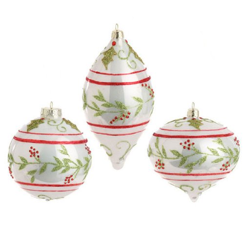RAZ Imports – White, Red and Green Glass Holly Ornaments