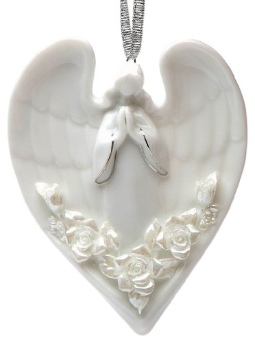 Appletree Design Angel and Roses Ornament, 2-7/8-Inch Tall, Includes Ribbon for Hanging