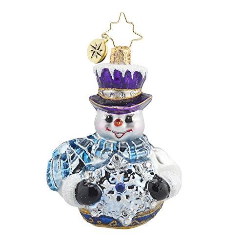 Christopher Radko Frosty Encounter Snowman Gem Glass Ornament