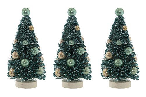 Set of 3 Bottle Brush Christmas Trees with Ornaments Gift Boxed – Green