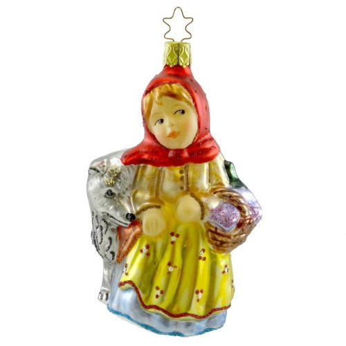 Inge Glas LITTLE RED RIDING HOOD Blown Glass Ornament Fairy Tale Wolf 107209