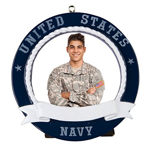 Navy Picture Frame Personalized Christmas Tree Ornament by Polar X