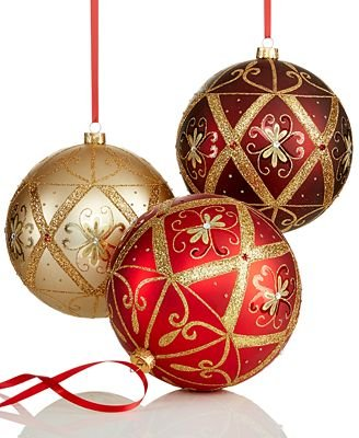 Holiday Lane Set of 3 Red, Gold, and Burgundy Oversized Ornaments