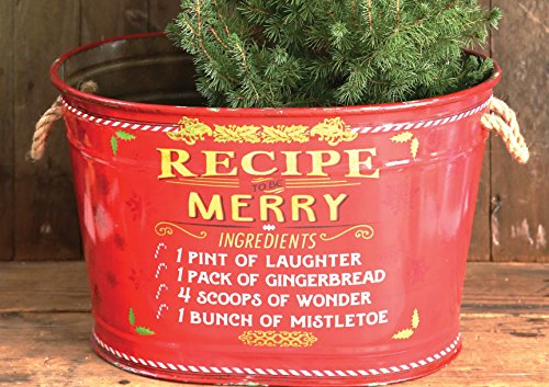 Large Vintage Red Metal Recipe to be Merry Decorative Holiday Bucket