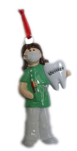 Dentist Woman in Green Scrubs with Tooth Christmas Ornament Tree Decoration