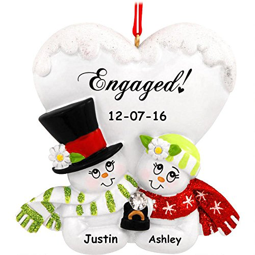 Personalized Engaged Snowman Snow Couple Christmas Ornament with Name – 3 Inches