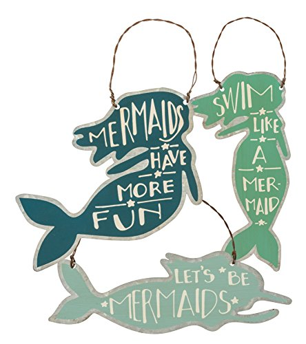 3 Mermaids Tin Hanging Sign Ornaments Primitives by Kathy
