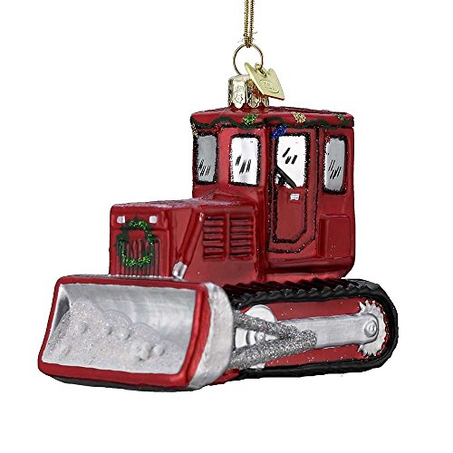 Kurt Adler 3.5″ Noble Gems Glass Bulldozer Ornament