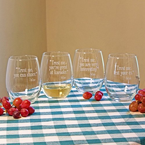 Assorted 21 Ounce TRUST ME Stemless Clear Etched Drinkware Wine Glass (Set of 4)
