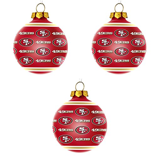 NFL San Francisco 49ers Repeat Glass Ball Christmas Ornament Bundle 3 Pack By Forever Collectibles
