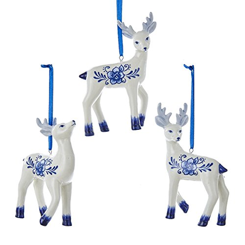 Kurt Adler 1 Set 3 Assorted 4 Inch Delft Blue Deer Christmas Ornaments