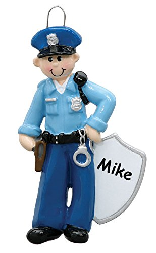 Personalized Male Police Officer Man Christmas Ornament with Name – 4 Inches