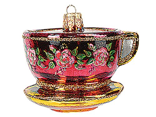 Tea Cup with Roses Polish Blown Glass Christmas Ornament Tree Decoration