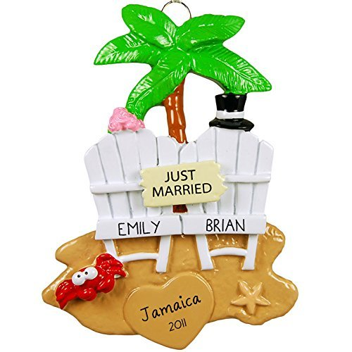 Wedding Couple on the Beach Personalized Tree Ornament by Rudolph and Me