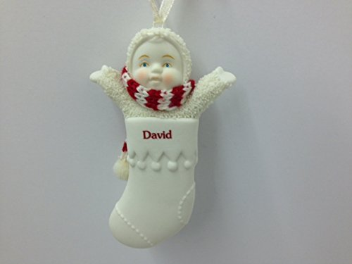 Snowbabies Personalized Name Christmas Stocking Ornament – David – 3.25″