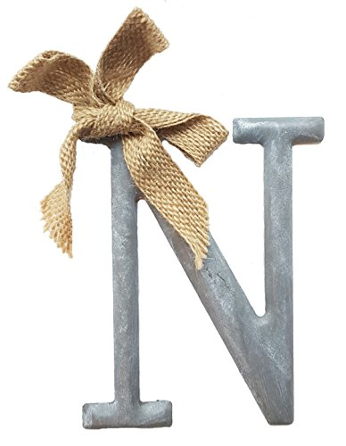 "Mud Pie Tin Slate Color Initial Monogram Ornament With Burlap Bow – Letter ""N"""
