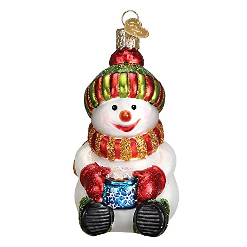 Old World Christmas 24167 Snowman with Cocoa Glass Blow Christmas Ornament Snowman with Cocoa