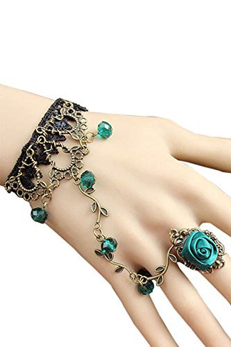 SZTARA Ladies Vintage Floral Bracelet Black Lace Rhinestone Gemstone Gothic Style Alloy Hand Band Elegant Rose Ornament Ring Sets Green