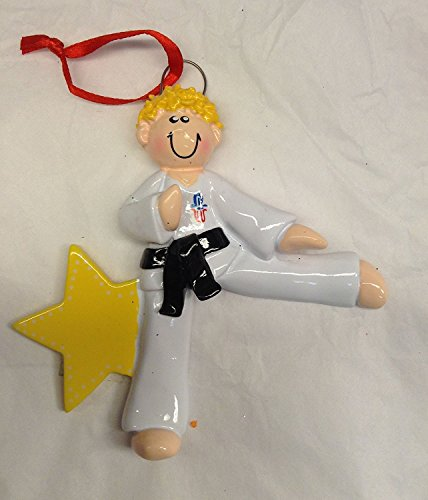 Karate Boy Blonde Personalized Ornament