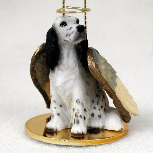 English Setter Angel Dog Ornament – Black Belton