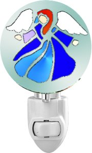 Colorful Angel Night Light – Stainless Steel Silhouettes