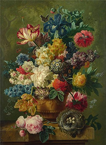 Oil Painting 'Paulus Theodorus Van Brussel Flowers In A Vase (1) ' Printing On Perfect Effect Canvas , 10 X 14 Inch / 25 X 35 Cm ,the Best Wall Art Decor And Home Gallery Art And Gifts Is This Cheap But High Quality Art Decorative Art Decorative Prints On Canvas