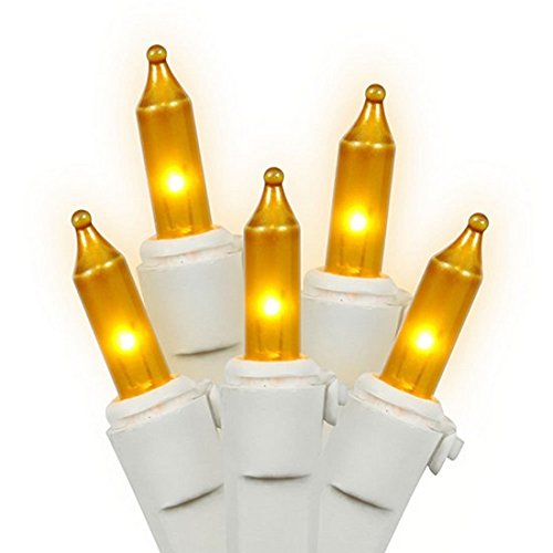 Vickerman Opaque Gold Mini Christmas Lights with White Wire, Set of 50