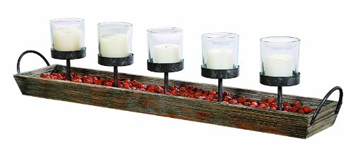 Creative Co-Op Wood and Metal Votive Candleholder