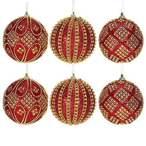 Red Gold Harlequin Ball Ornaments 4 Inches Diameter – Set of 6 By Mark Roberts