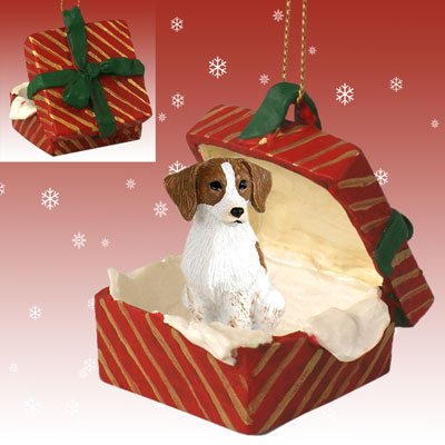 Conversation Concepts Brittany Brown & White Spaniel Gift Box Red Ornament
