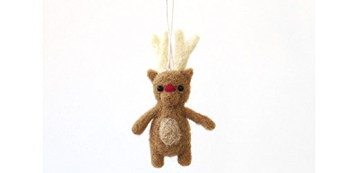 Miniature Rudolph Christmas deer ornament, needle felted reindeer – light brown, tiny wee felt animal, woodland charm
