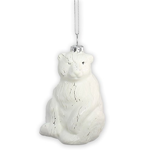 Holiday Lane Silver & White Polar Bear Glass Christmas Ornament