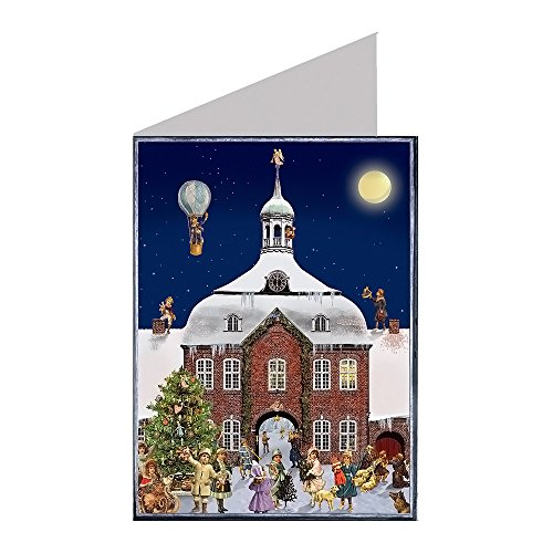 Alexander Taron Importer ADV497  Advent Card Town Hall At Night with Christmas Tree