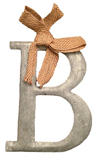 "Mud Pie Tin Slate Color Initial Monogram Ornament With Burlap Bow – Letter ""B"""