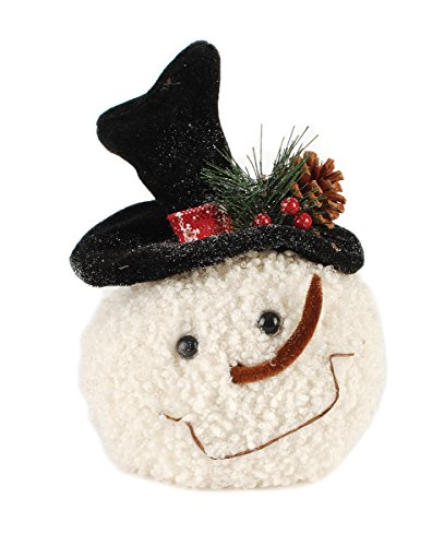 Round Snowman Head 8 x 6inch Plush Sherpa Christmas Table Top Figurine