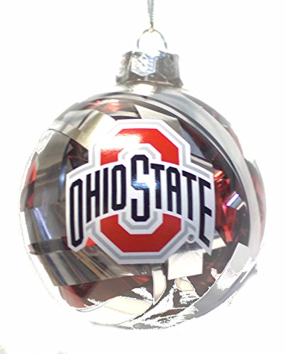 NCAA Officially Licensed Ohio State Buckeyes Tinsel Filled Ball Ornament