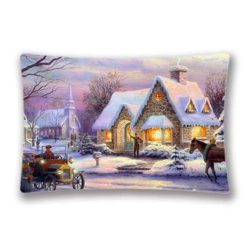 Christmas Decorative Pillow Cover-Thomas Kinkade Pictures Decorative Pillow Cover Zippered Soft Pillow Sham Christmas Series Pillowcase ( 20×30, twin sides)