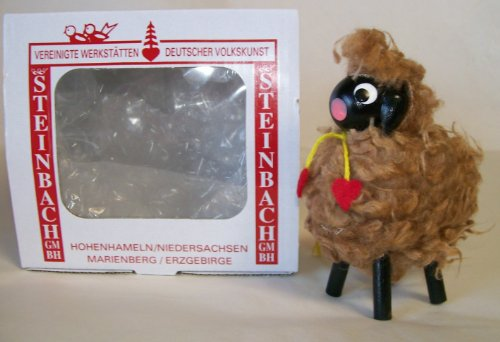 Steinbach Gm Bh Christmas Decorations ,Gifts and Ornaments Handmade in Germany Wooden Brown Sheep Ornament
