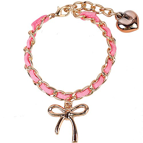 Winter's Secret Adjustable Womens Angel Bowknot Pink Hand Knitting Heart Link Bracelet