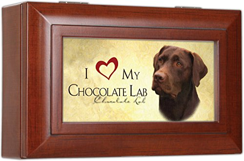 I love My Chocolate Labrador Lab Dog Decorative Jewelry Music Musical Box – Plays Song Wonderful World