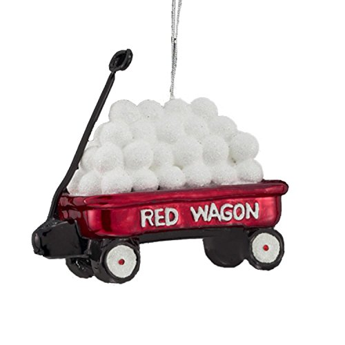 3.5″ Noble Gems Red Wagon with Snowballs Christmas Ornament