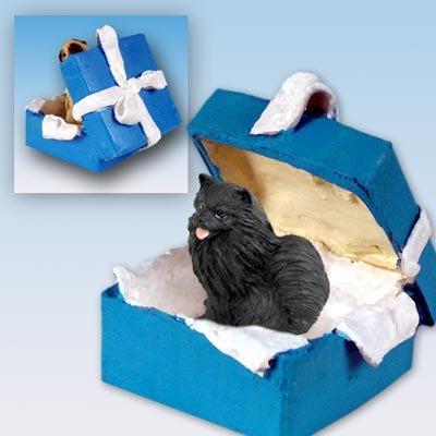 Conversation Concepts Pomeranian Black Gift Box Blue Ornament