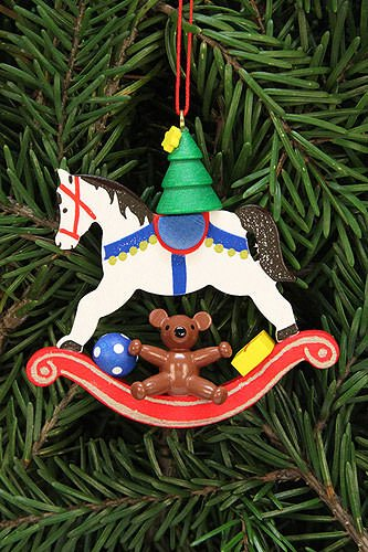 Tree ornaments Tree ornament tree on rocking horse – 6,8×6,5cm / 2.7×2.5inch – Christian Ulbricht