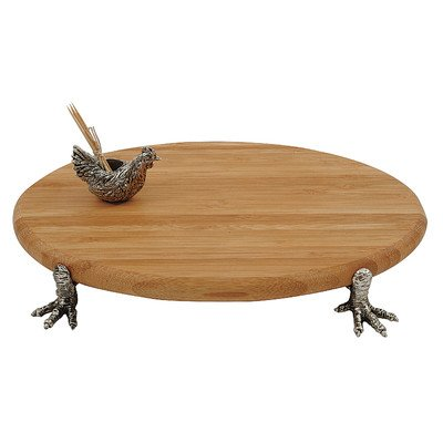Creative Co-Op Zinc Alloy and Bamboo Cheese Board with Hen Toothpick Holder