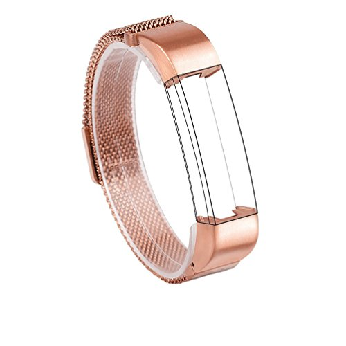 Wearlizer Milanese Loop Bands Replacement Metal Stainless Steel Strap Sport Wristband for Fitbit Alta – Rose Gold
