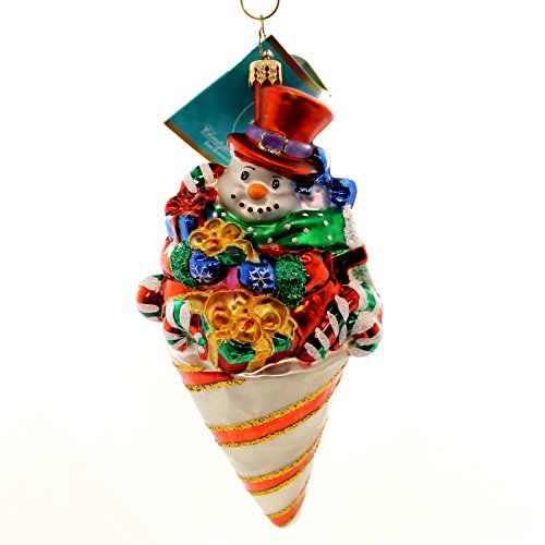 Christopher Radko SNOWCONE POPPIN Glass Ornament Christmas Snowman