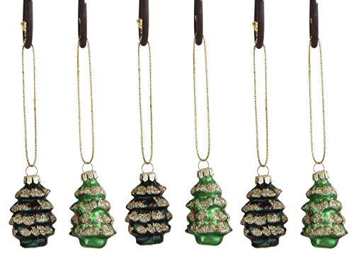 (6) Mini Green Christmas Tree Shaped Glass Ornaments, Box Set