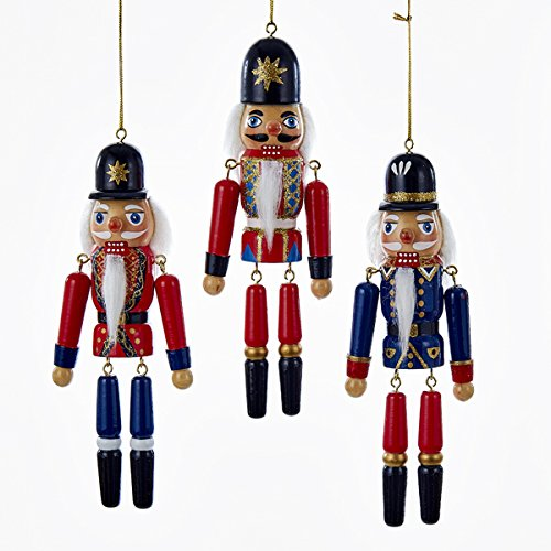 Kurt Adler 1 Set 3 Assorted Nutcracker 6 Inch Wood Christmas Ornaments