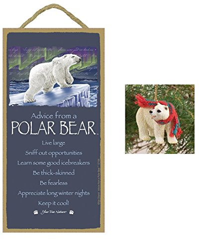 5″ x 10″ ADVICE FROM A POLAR BEAR WOOD PLAQUE Inspirational Sign + Polar Bear Tiny Ones Ornament Novelty Gift